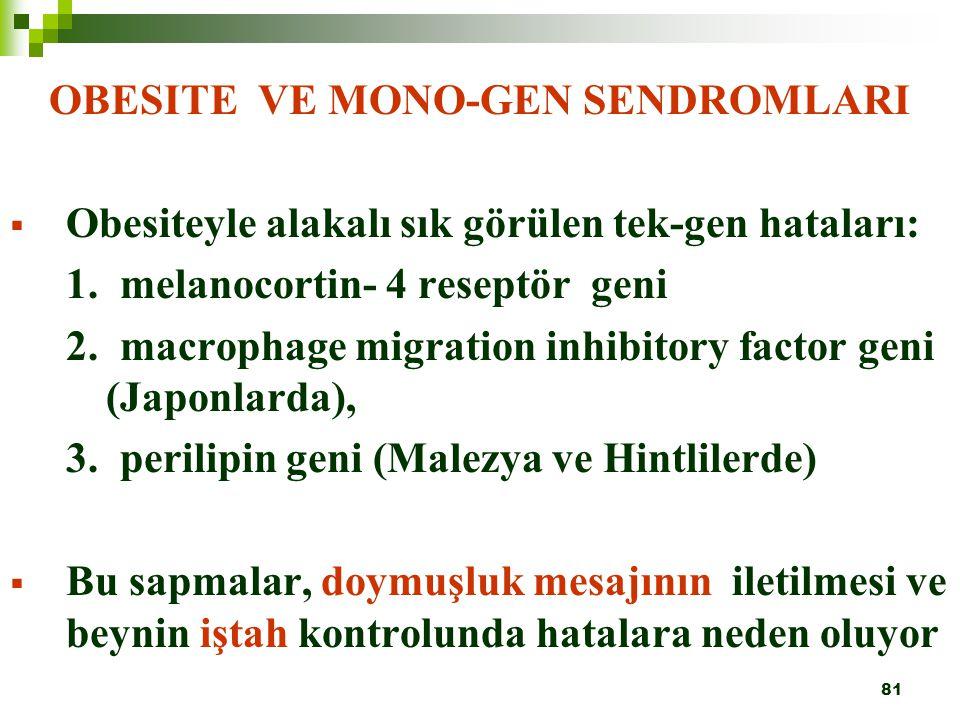 81 OBESITE VE MONO-GEN SENDROMLARI  Obesiteyle alakalı sık görülen tek-gen hataları: 1. melanocortin- 4 reseptör geni 2. macrophage migration inhibit