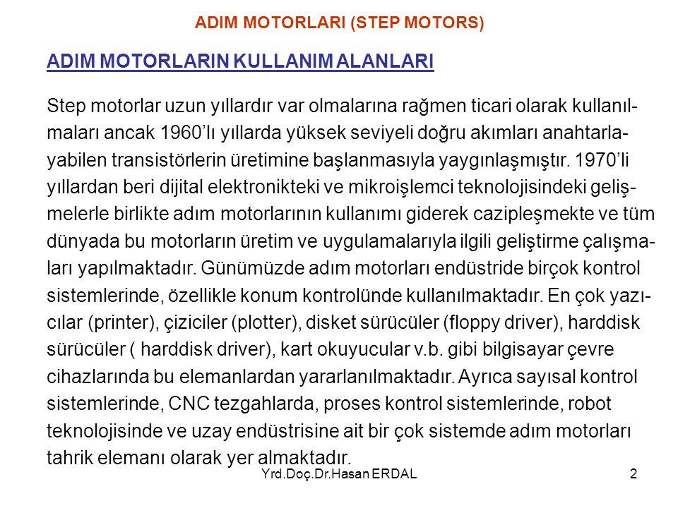 Yrd.Doç.Dr.Hasan ERDAL2 Step motorlar uzun yıllardır var olmalarına rağmen ticari olarak kullanıl- maları ancak 1960'lı yıllarda yüksek seviyeli doğru
