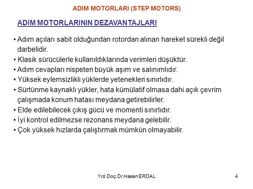 Yrd.Doç.Dr.Hasan ERDAL4 Adım açıları sabit olduğundan rotordan alınan hareket sürekli değil darbelidir. Klasik sürücülerle kullanıldıklarında verimler