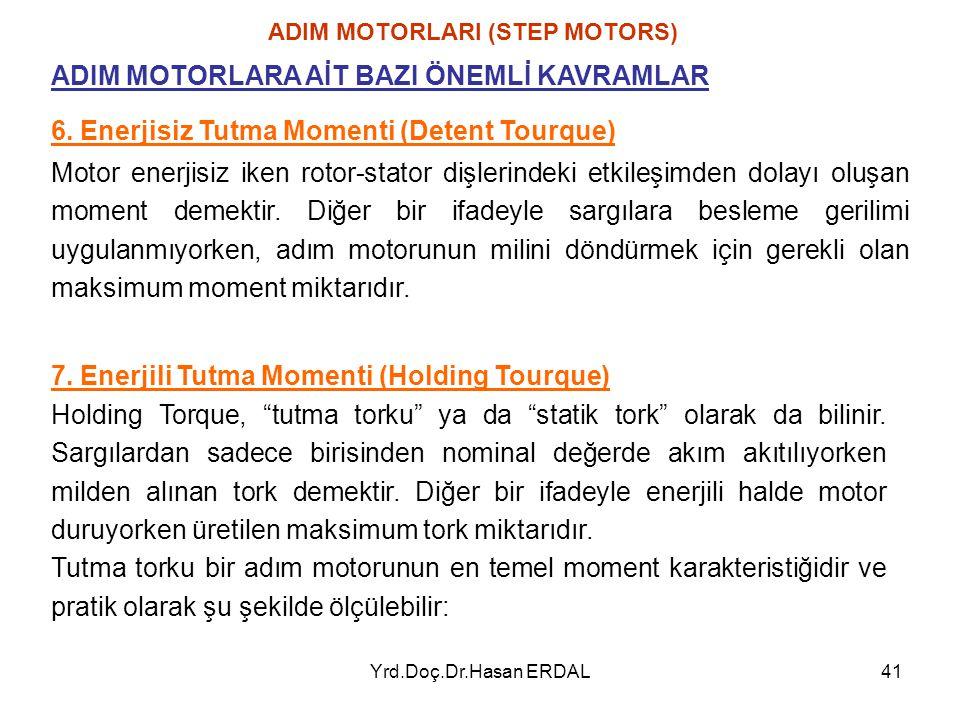 Yrd.Doç.Dr.Hasan ERDAL41 ADIM MOTORLARI (STEP MOTORS) 6. Enerjisiz Tutma Momenti (Detent Tourque) ADIM MOTORLARA AİT BAZI ÖNEMLİ KAVRAMLAR Motor enerj