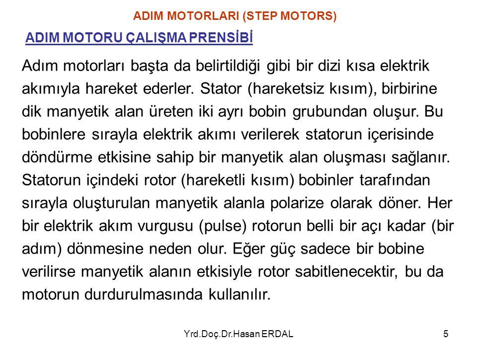 Yrd.Doç.Dr.Hasan ERDAL6 Şekil – 1.8 ADIM MOTORLARI (STEP MOTORS) ADIM MOTORU ÇALIŞMA PRENSİBİ Adım motoru, bir daire içindeki elek- tromagnetik alanların dönüşü ile ifade edilebilir.