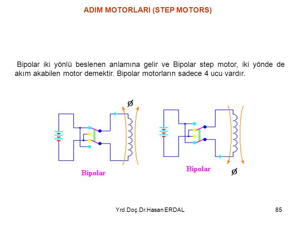 Yrd.Doç.Dr.Hasan ERDAL85 ADIM MOTORLARI (STEP MOTORS) Bipolar iki yönlü beslenen anlamına gelir ve Bipolar step motor, iki yönde de akım akabilen moto