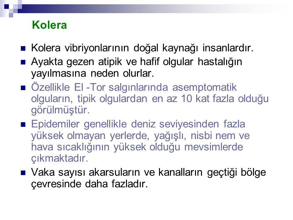 Kolera Kolera vibriyonlarının doğal kaynağı insanlardır. Ayakta gezen atipik ve hafif olgular hastalığın yayılmasına neden olurlar. Özellikle El -Tor