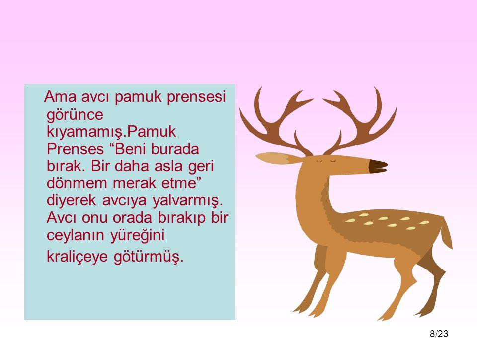 8/23 Ama avcı pamuk prensesi görünce kıyamamış.Pamuk Prenses Beni burada bırak.