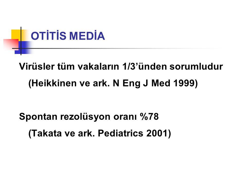 Virüsler tüm vakaların 1/3'ünden sorumludur (Heikkinen ve ark. N Eng J Med 1999) Spontan rezolüsyon oranı %78 (Takata ve ark. Pediatrics 2001) OTİTİS