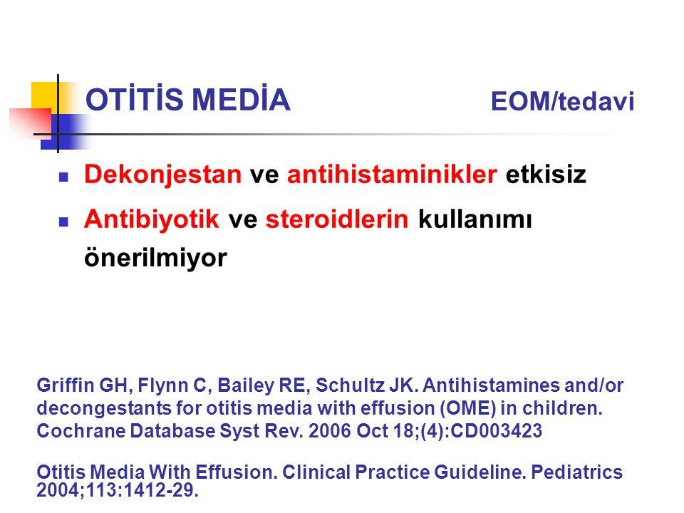 Dekonjestan ve antihistaminikler etkisiz Antibiyotik ve steroidlerin kullanımı önerilmiyor Griffin GH, Flynn C, Bailey RE, Schultz JK. Antihistamines