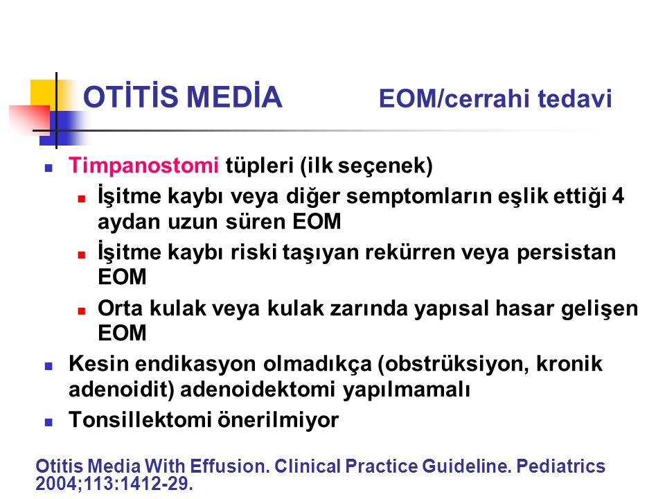 Timpanostomi tüpleri (ilk seçenek) İşitme kaybı veya diğer semptomların eşlik ettiği 4 aydan uzun süren EOM İşitme kaybı riski taşıyan rekürren veya p