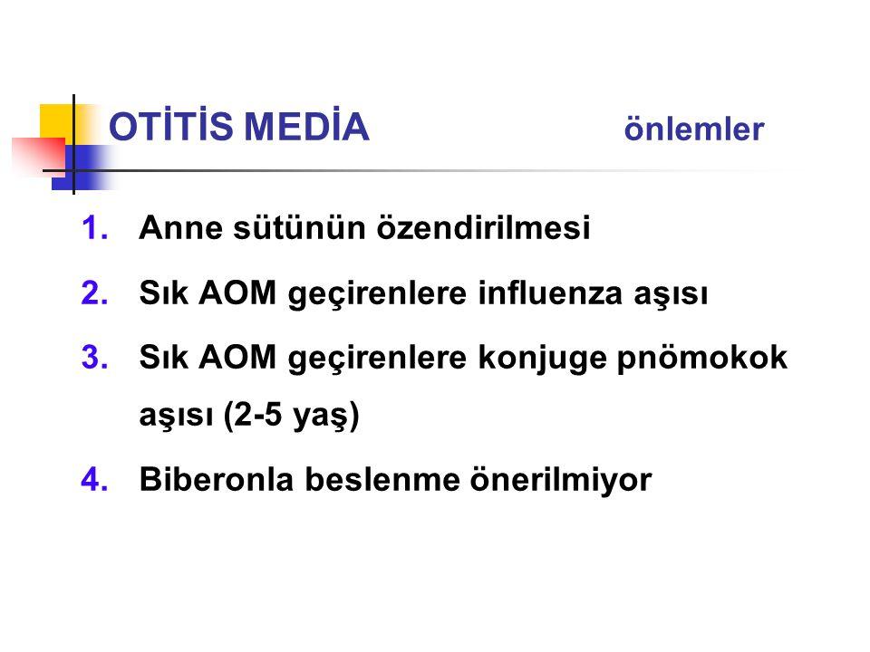 1.Anne sütünün özendirilmesi 2.Sık AOM geçirenlere influenza aşısı 3.Sık AOM geçirenlere konjuge pnömokok aşısı (2-5 yaş) 4.Biberonla beslenme önerilm
