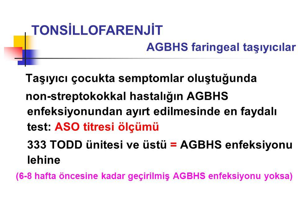 Taşıyıcı çocukta semptomlar oluştuğunda non-streptokokkal hastalığın AGBHS enfeksiyonundan ayırt edilmesinde en faydalı test: ASO titresi ölçümü 333 T