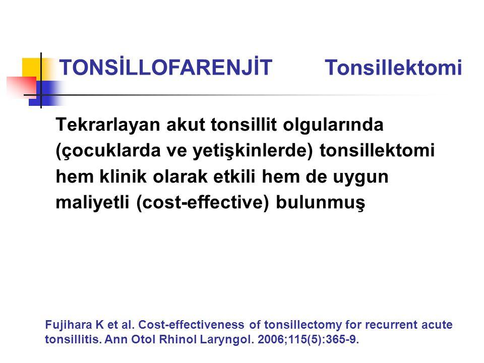 Tekrarlayan akut tonsillit olgularında (çocuklarda ve yetişkinlerde) tonsillektomi hem klinik olarak etkili hem de uygun maliyetli (cost-effective) bu