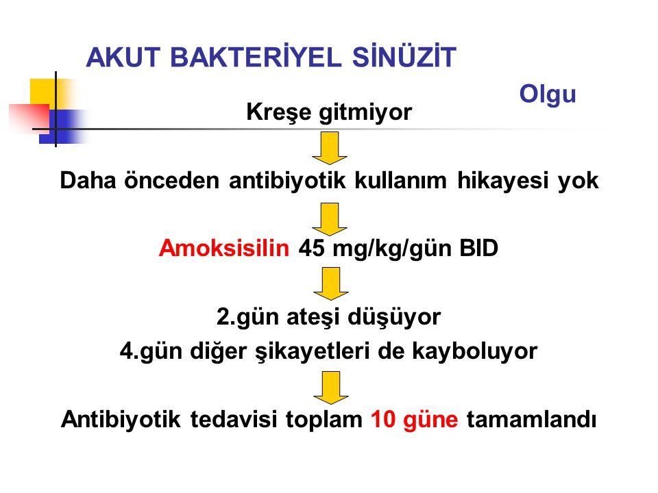 Kreşe gitmiyor Daha önceden antibiyotik kullanım hikayesi yok Amoksisilin 45 mg/kg/gün BID 2.gün ateşi düşüyor 4.gün diğer şikayetleri de kayboluyor A