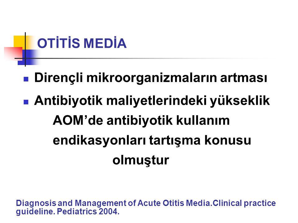 Dirençli mikroorganizmaların artması Antibiyotik maliyetlerindeki yükseklik AOM'de antibiyotik kullanım endikasyonları tartışma konusu olmuştur Diagno