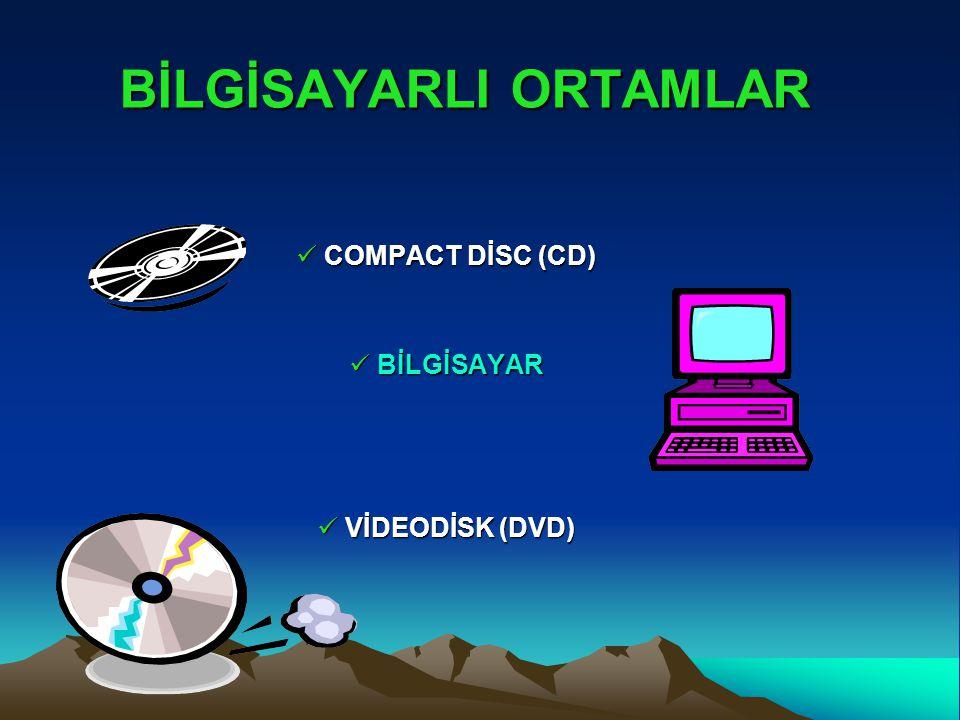 BİLGİSAYARLI ORTAMLAR COMPACT DİSC (CD) COMPACT DİSC (CD) BİLGİSAYAR BİLGİSAYAR VİDEODİSK (DVD) VİDEODİSK (DVD)