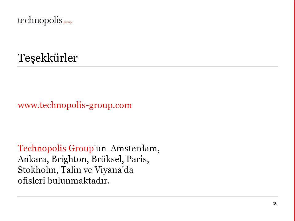 11 décembre 201438 Teşekkürler www.technopolis-group.com Technopolis Group un Amsterdam, Ankara, Brighton, Brüksel, Paris, Stokholm, Talin ve Viyana da ofisleri bulunmaktadır.
