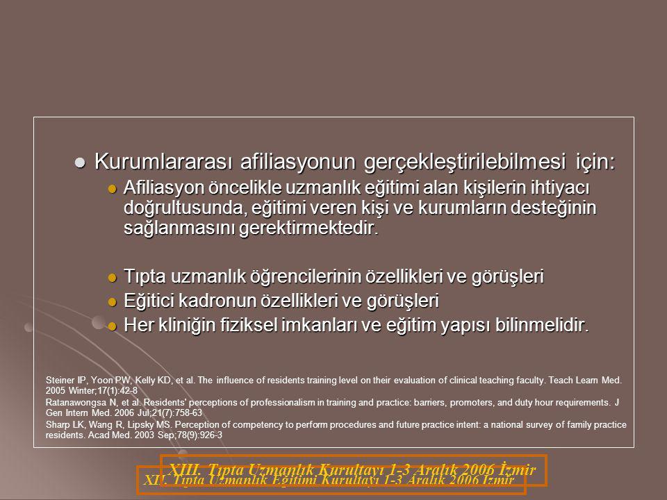 XII. Tıpta Uzmanlık Eğitimi Kurultayı 1-3 Aralık 2006 İzmir XIII. Tıpta Uzmanlık Kurultayı 1-3 Aralık 2006 İzmir Kurumlararası afiliasyonun gerçekleşt