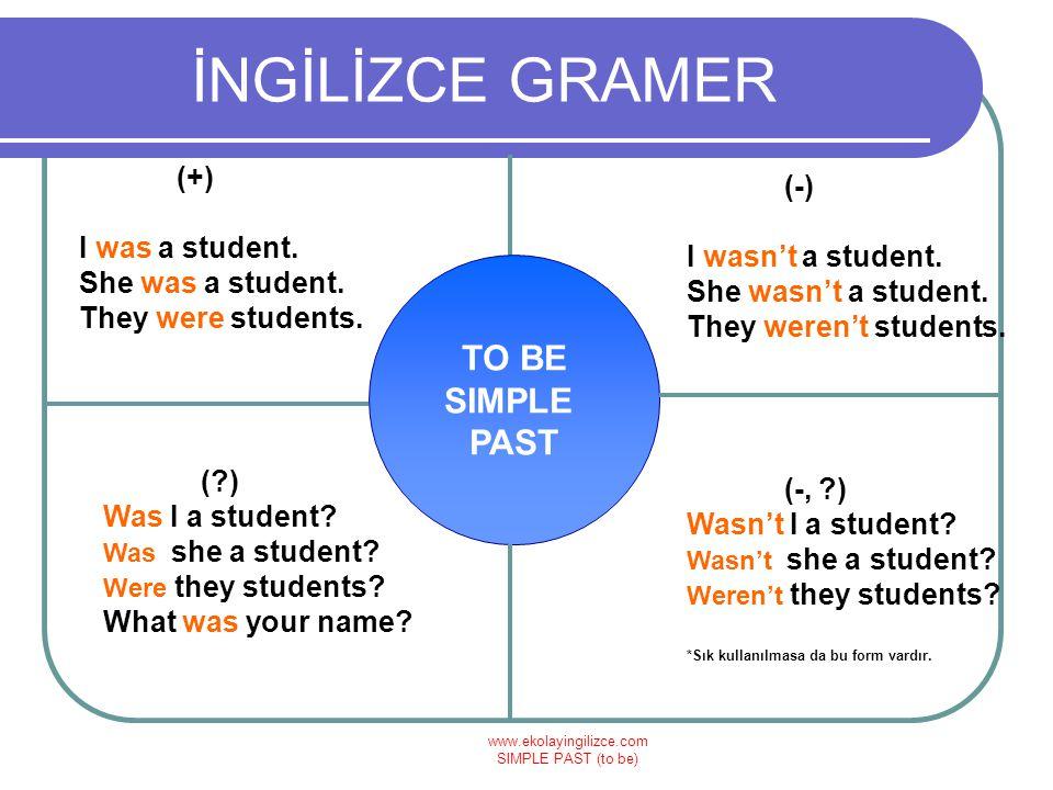 www.ekolayingilizce.com SIMPLE PAST (to be) İNGİLİZCE GRAMER TO BE SIMPLE PAST (+) I was a student. She was a student. They were students. (-) I wasn'