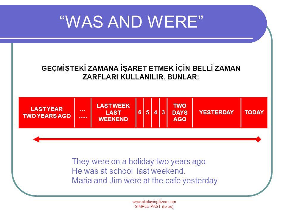 www.ekolayingilizce.com SIMPLE PAST (to be) WAS AND WERE GEÇMİŞTEKİ ZAMANA İŞARET ETMEK İÇİN BELLİ ZAMAN ZARFLARI KULLANILIR.