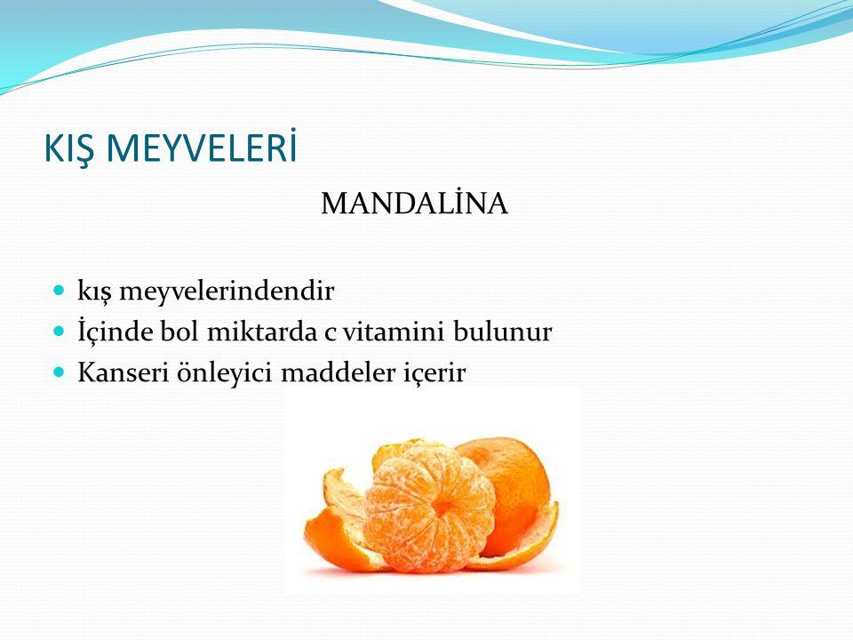 KIŞ MEYVELERİ PORTAKAL Portakal kış meyvelerindendir İçinde bol miktarda c vitamini bulunur Kanseri önleyici maddeler içerir