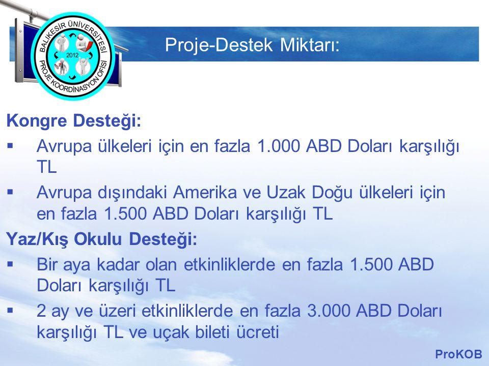 LOGO Proje-Destek Miktarı: Kongre Desteği:  Avrupa ülkeleri için en fazla 1.000 ABD Doları karşılığı TL  Avrupa dışındaki Amerika ve Uzak Doğu ülkel