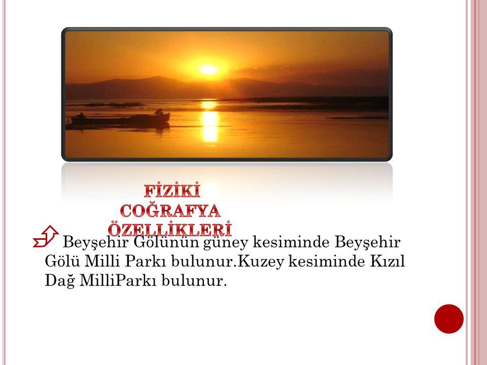  Beyşehir Gölünün güney kesiminde Beyşehir Gölü Milli Parkı bulunur.Kuzey kesiminde Kızıl Dağ MilliParkı bulunur.