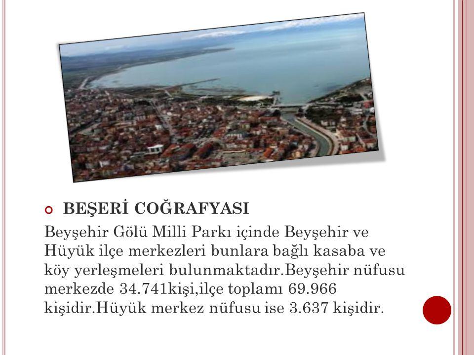 BEŞERİ COĞRAFYASI Beyşehir Gölü Milli Parkı içinde Beyşehir ve Hüyük ilçe merkezleri bunlara bağlı kasaba ve köy yerleşmeleri bulunmaktadır.Beyşehir n