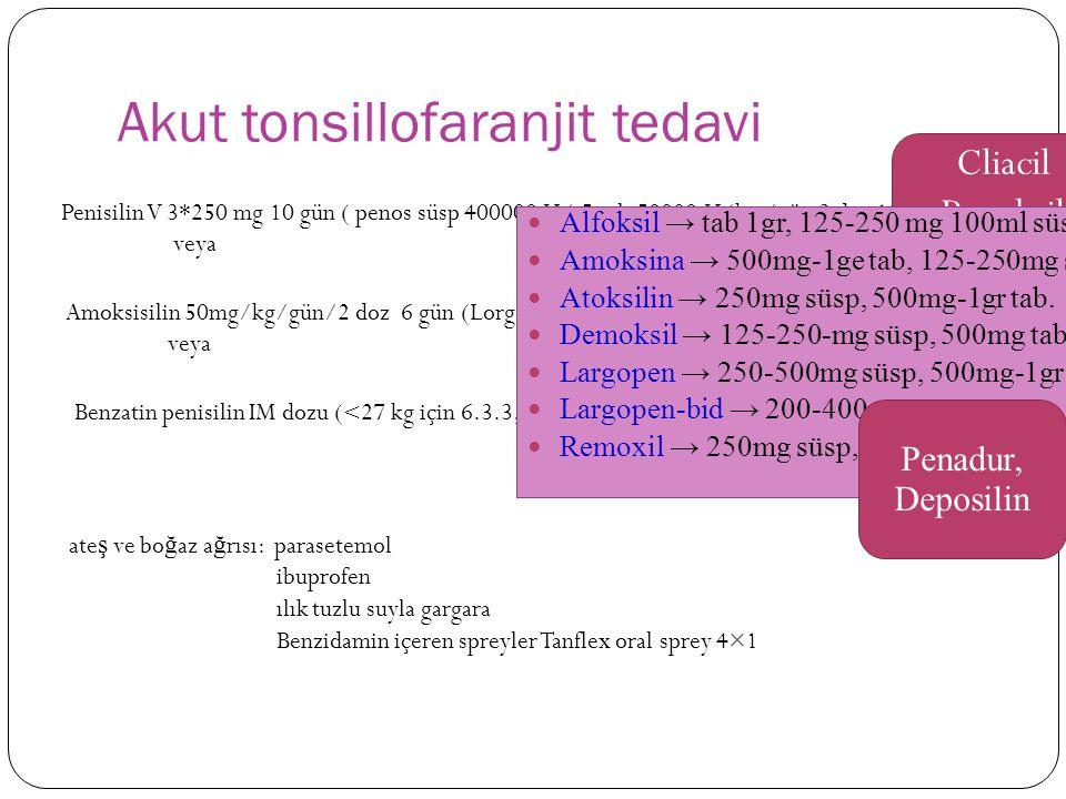 Akut tonsillofaranjit tedavi Penisilin V 3*250 mg 10 gün ( penos süsp 400000 U/ 5 ml, 50000 U/kg /gün 3 doz 10 gün) veya Amoksisilin 50mg/kg/gün/2 doz 6 gün (Lorgopen 250 mg/ 5 ml 6 gün) veya Benzatin penisilin IM dozu ( 27 kg için 1.2 milyon Ü) ate ş ve bo ğ az a ğ rısı: parasetemol ibuprofen ılık tuzlu suyla gargara Benzidamin içeren spreyler Tanflex oral sprey 4×1 Cliacil Penoksil Alfoksil → tab 1gr, 125-250 mg 100ml süsp.