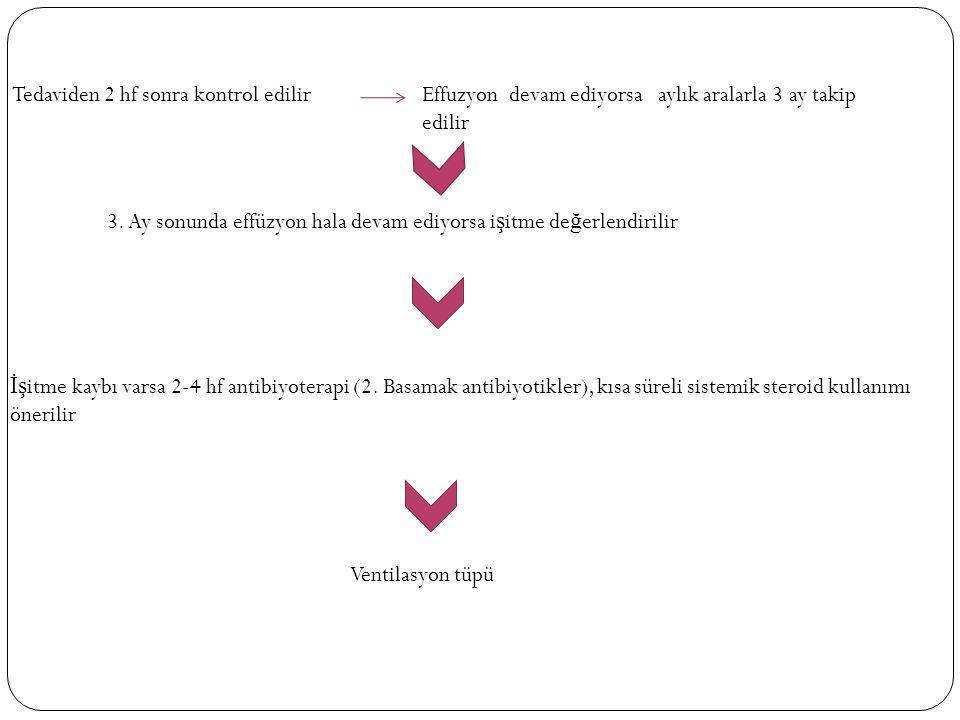 Tedaviden 2 hf sonra kontrol edilirEffuzyon devam ediyorsa aylık aralarla 3 ay takip edilir 3.