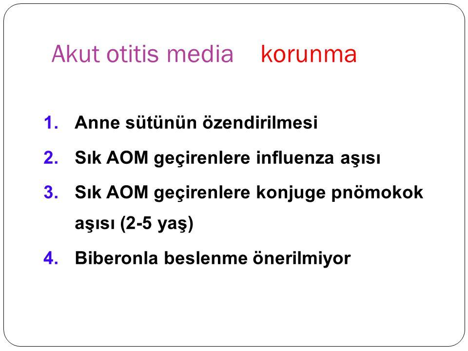 Akut otitis media korunma 1.Anne sütünün özendirilmesi 2.Sık AOM geçirenlere influenza aşısı 3.Sık AOM geçirenlere konjuge pnömokok aşısı (2-5 yaş) 4.Biberonla beslenme önerilmiyor