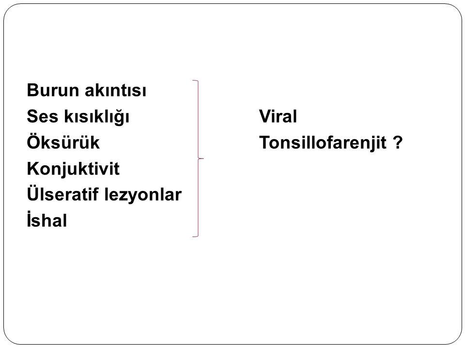 Burun akıntısı Ses kısıklığıViral ÖksürükTonsillofarenjit ? Konjuktivit Ülseratif lezyonlar İshal