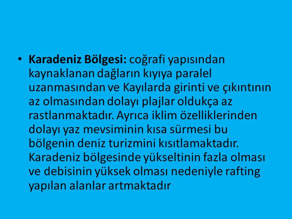 Marmara Bölgesi: önemli ulaşım yolları üzerinde bulunması, iklim koşulları, İstanbul'un varlığı, eski bir yerleşim alanı olmasından dolayı Marmara bölgesinde turizm merkezlerinin sayısı oldukça fazladır.