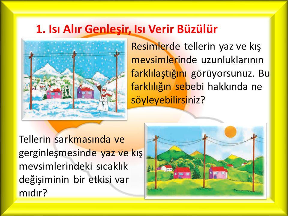 1. Isı Alır Genleşir, Isı Verir Büzülür Resimlerde tellerin yaz ve kış mevsimlerinde uzunluklarının farklılaştığını görüyorsunuz. Bu farklılığın sebeb