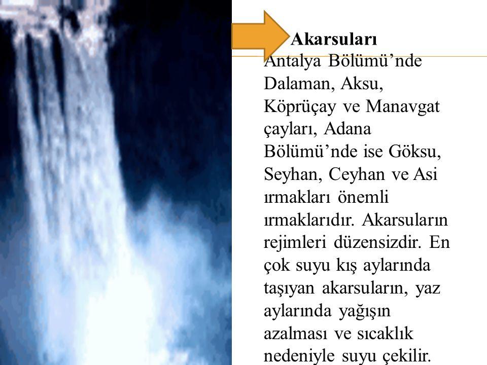 Antalya Bölümü'nde Dalaman, Aksu, Köprüçay ve Manavgat çayları, Adana Bölümü'nde ise Göksu, Seyhan, Ceyhan ve Asi ırmakları önemli ırmaklarıdır. Akars