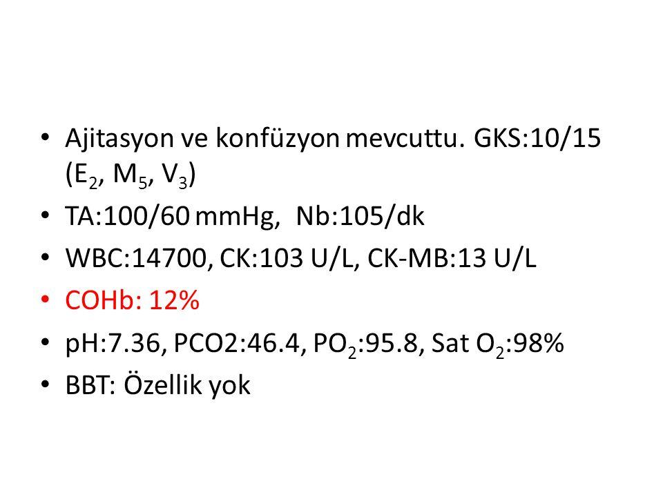 Ajitasyon ve konfüzyon mevcuttu. GKS:10/15 (E 2, M 5, V 3 ) TA:100/60 mmHg, Nb:105/dk WBC:14700, CK:103 U/L, CK-MB:13 U/L COHb: 12% pH:7.36, PCO2:46.4