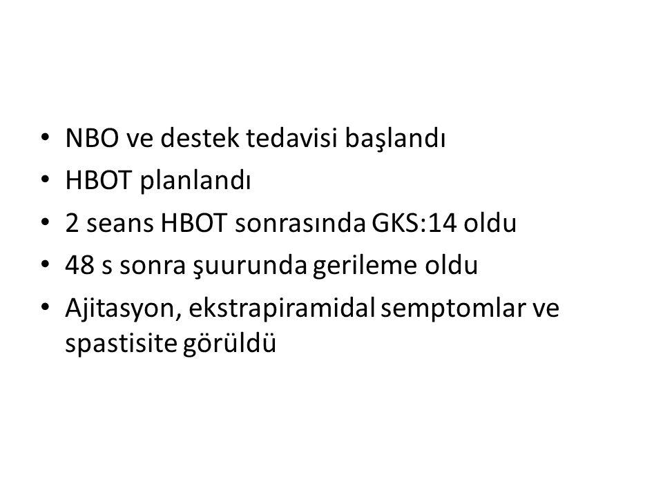 NBO ve destek tedavisi başlandı HBOT planlandı 2 seans HBOT sonrasında GKS:14 oldu 48 s sonra şuurunda gerileme oldu Ajitasyon, ekstrapiramidal sempto