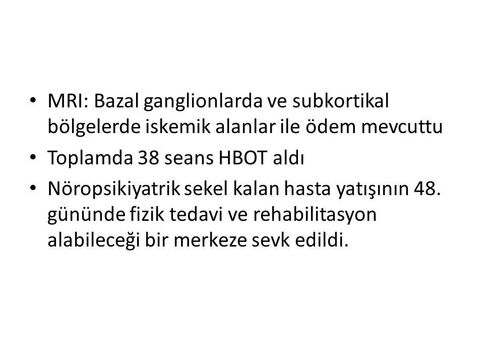 MRI: Bazal ganglionlarda ve subkortikal bölgelerde iskemik alanlar ile ödem mevcuttu Toplamda 38 seans HBOT aldı Nöropsikiyatrik sekel kalan hasta yat