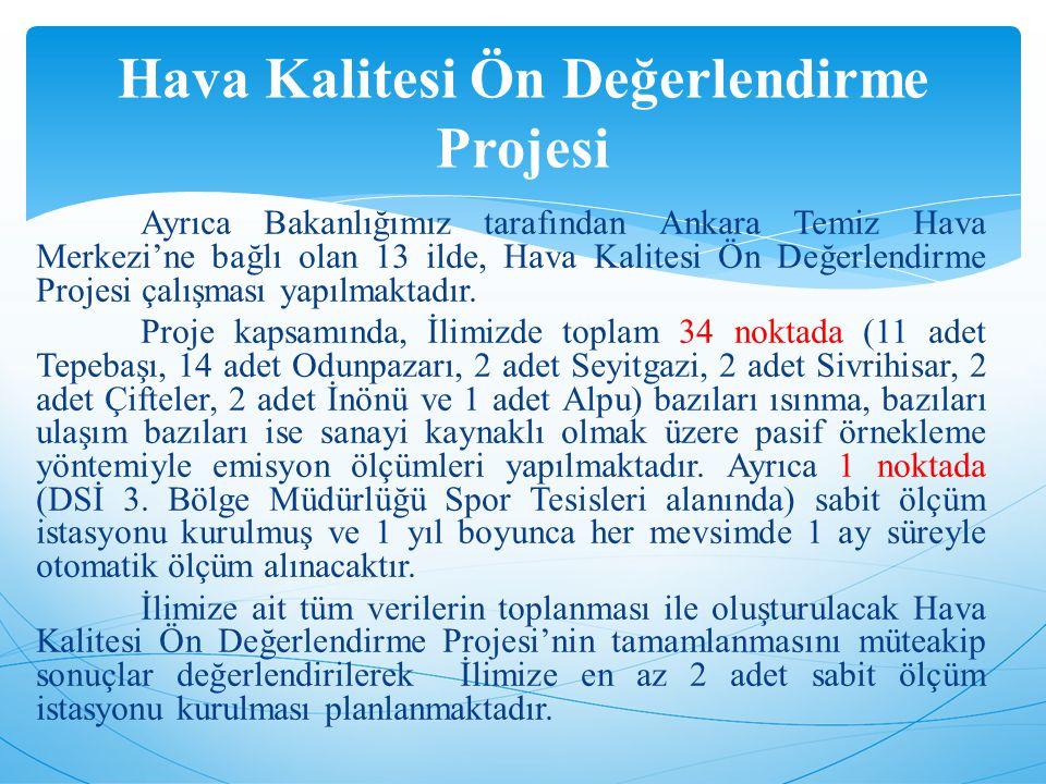 Ayrıca Bakanlığımız tarafından Ankara Temiz Hava Merkezi'ne bağlı olan 13 ilde, Hava Kalitesi Ön Değerlendirme Projesi çalışması yapılmaktadır.
