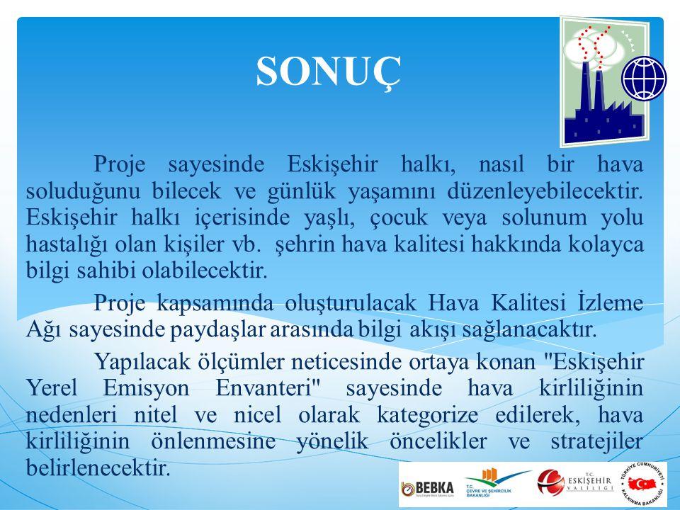 SONUÇ Proje sayesinde Eskişehir halkı, nasıl bir hava soluduğunu bilecek ve günlük yaşamını düzenleyebilecektir.