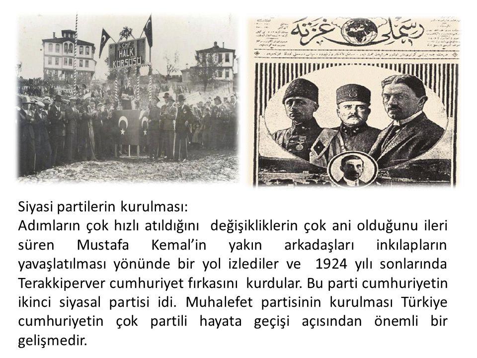 Siyasi partilerin kurulması: Adımların çok hızlı atıldığını değişikliklerin çok ani olduğunu ileri süren Mustafa Kemal'in yakın arkadaşları inkılaplar
