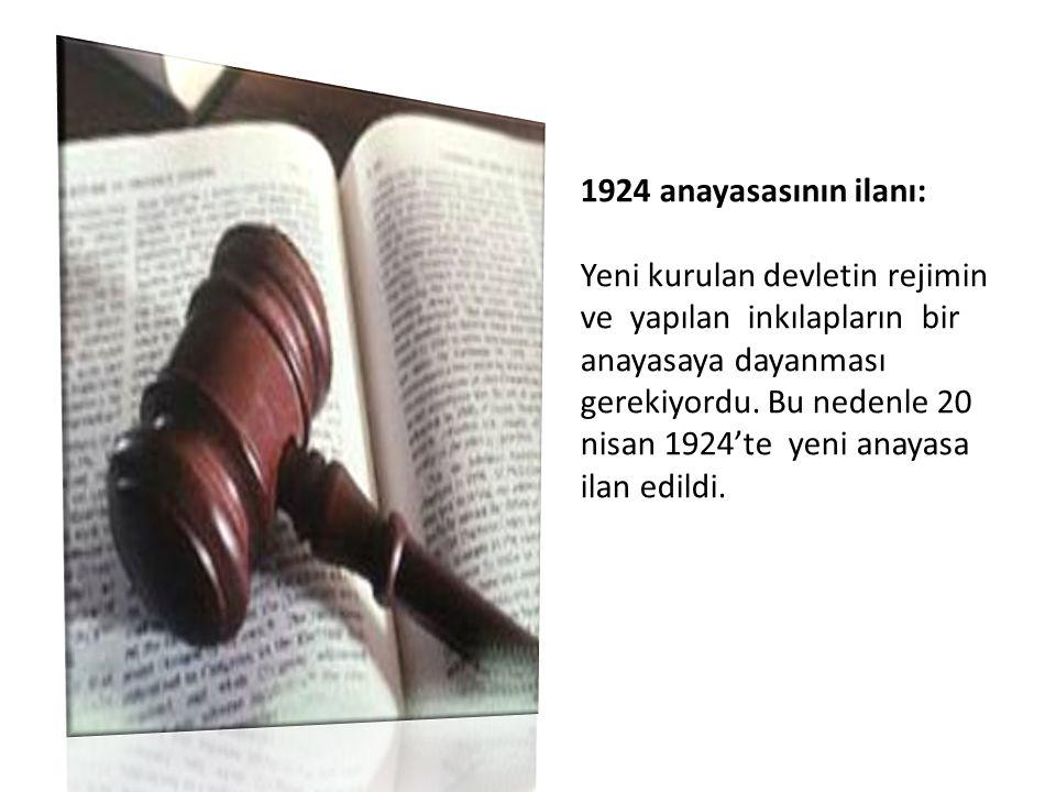 1924 anayasasının ilanı: Yeni kurulan devletin rejimin ve yapılan inkılapların bir anayasaya dayanması gerekiyordu. Bu nedenle 20 nisan 1924'te yeni a