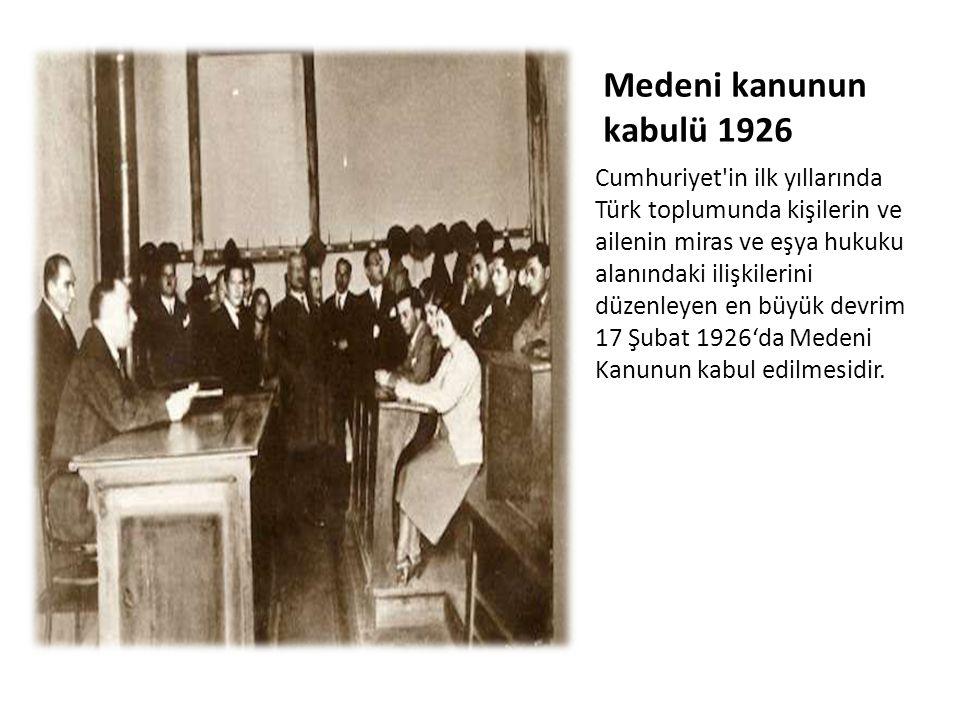 Medeni kanunun kabulü 1926 Cumhuriyet'in ilk yıllarında Türk toplumunda kişilerin ve ailenin miras ve eşya hukuku alanındaki ilişkilerini düzenleyen e