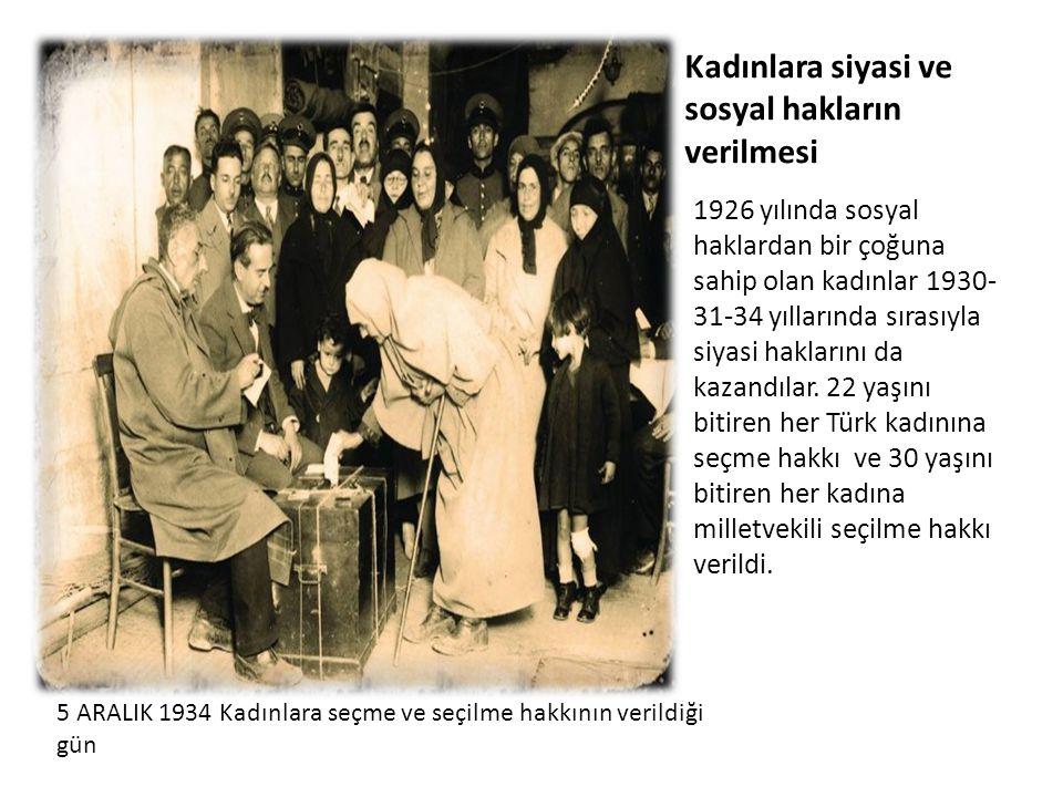Kadınlara siyasi ve sosyal hakların verilmesi 1926 yılında sosyal haklardan bir çoğuna sahip olan kadınlar 1930- 31-34 yıllarında sırasıyla siyasi hak