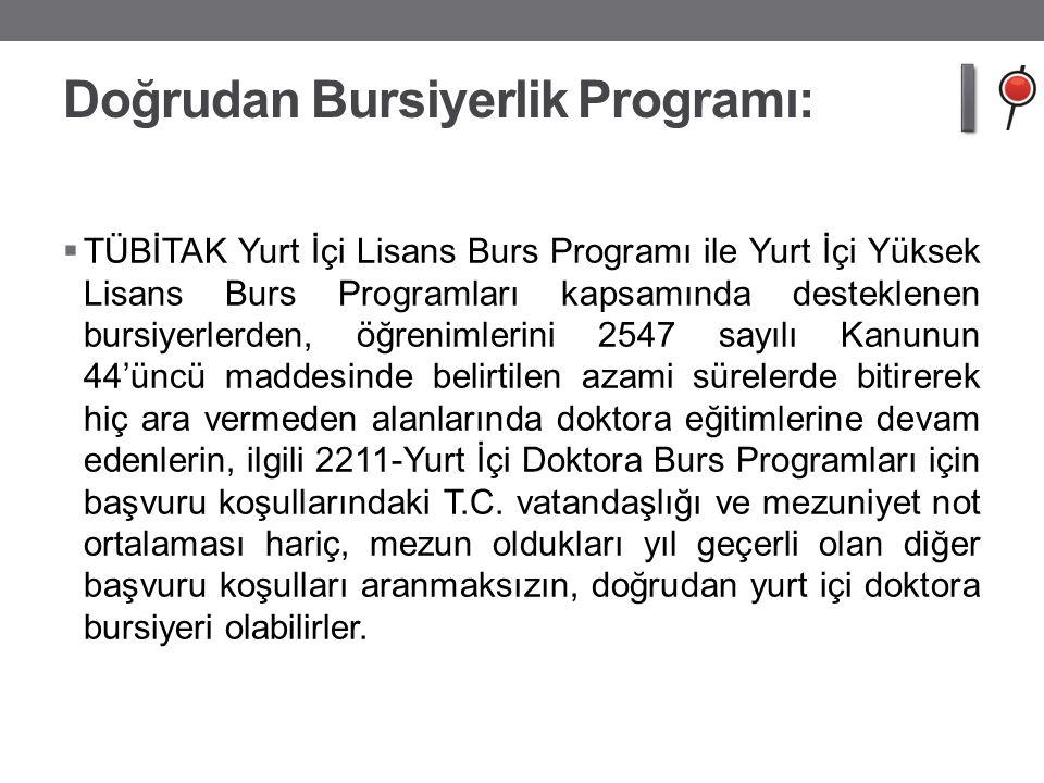 Doğrudan Bursiyerlik Programı:  TÜBİTAK Yurt İçi Lisans Burs Programı ile Yurt İçi Yüksek Lisans Burs Programları kapsamında desteklenen bursiyerlerd