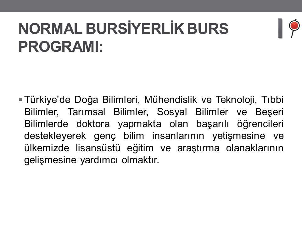 NORMAL BURSİYERLİK BURS PROGRAMI:  Türkiye'de Doğa Bilimleri, Mühendislik ve Teknoloji, Tıbbi Bilimler, Tarımsal Bilimler, Sosyal Bilimler ve Beşeri