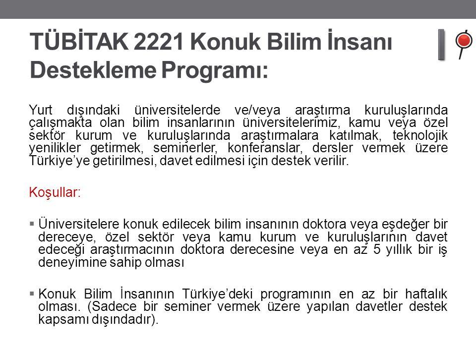 TÜBİTAK 2221 Konuk Bilim İnsanı Destekleme Programı: Yurt dışındaki üniversitelerde ve/veya araştırma kuruluşlarında çalışmakta olan bilim insanlarını