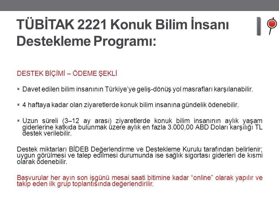 TÜBİTAK 2221 Konuk Bilim İnsanı Destekleme Programı: DESTEK BİÇİMİ – ÖDEME ŞEKLİ  Davet edilen bilim insanının Türkiye'ye geliş-dönüş yol masrafları