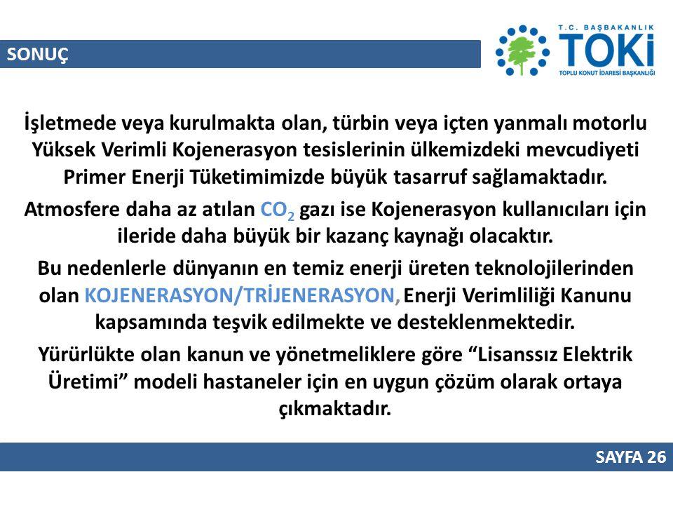 SONUÇ SAYFA 26 İşletmede veya kurulmakta olan, türbin veya içten yanmalı motorlu Yüksek Verimli Kojenerasyon tesislerinin ülkemizdeki mevcudiyeti Prim