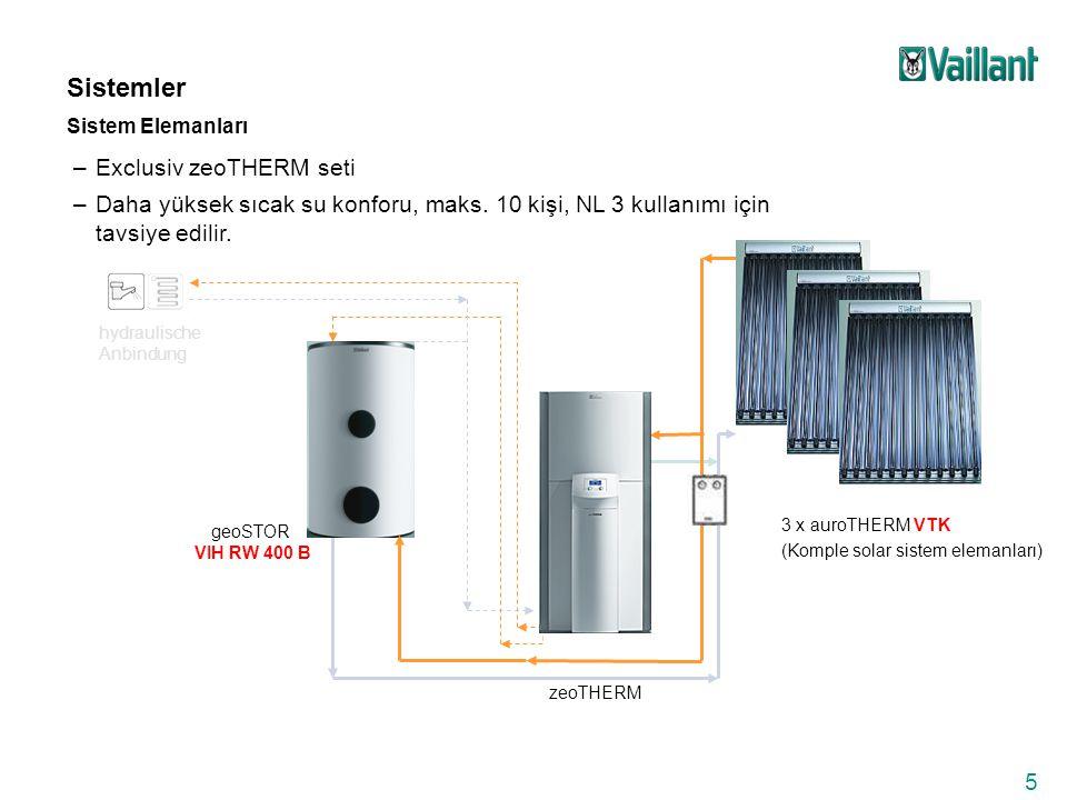 6 zeoTHERM sisteminin kullanımı için gerekli şartlar: Zeolit-Gazlı-Absorpsiyonlu ısı pompası sistemleri paket olarak kullanıma sunulmaktadır: –zeoTHERM cihaz, 3 x Vaillant VFK 145 düzlemsel güneş kollektörleri ile tüm solar sistem bağlantı elemanları ve çift eşanjörlü Vaillant VIH S 300 litre solar sistem boyleri veya –zeoTHERM cihaz, 3 x Vakum-borulu Vaillant VTK 1140 güneş kollektörleri ile tüm solar sistem bağlantı elemanları ve çift eşanjörlü, ısı pompaları için kullanılabilen Vaillant VIH RW 400 litre solar sistem boyleri Sistem için aşağıdaki şartların oluşması gerekmektedir : –maks.