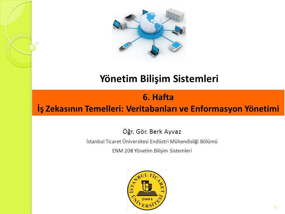 Yönetim Bilişim Sistemleri 1 Öğr. Gör. Berk Ayvaz İstanbul Ticaret Üniversitesi Endüstri Mühendisliği Bölümü ENM 208 Yönetim Bilişim Sistemleri 6. Haf