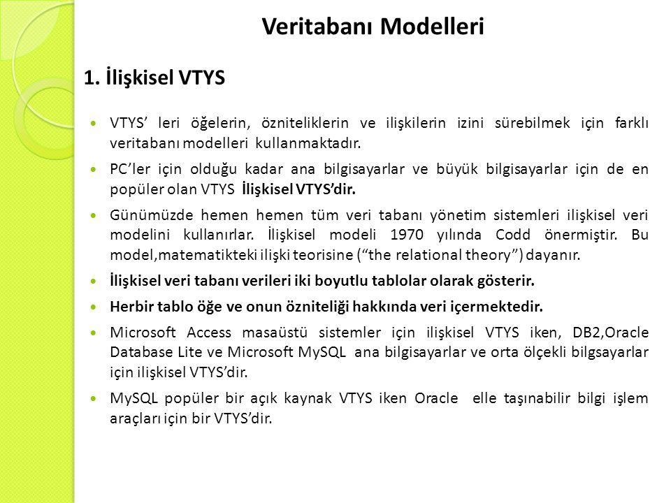Veritabanı Modelleri VTYS' leri öğelerin, özniteliklerin ve ilişkilerin izini sürebilmek için farklı veritabanı modelleri kullanmaktadır.
