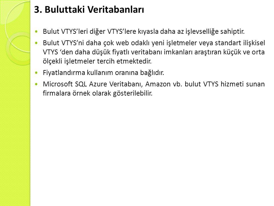 3.Buluttaki Veritabanları Bulut VTYS'leri diğer VTYS'lere kıyasla daha az işlevselliğe sahiptir.